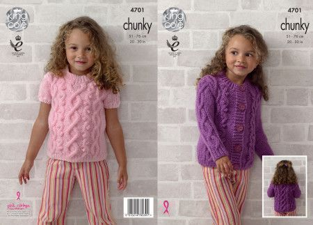 Top and Cardigan in King Cole Big Value Chunky (4701)