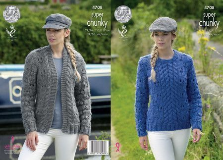 Cardigan and Sweater in King Cole Big Value Super Chunky (4708)
