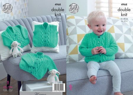 Cardigans and Waistcoat in King Cole Comfort Baby DK (4968)