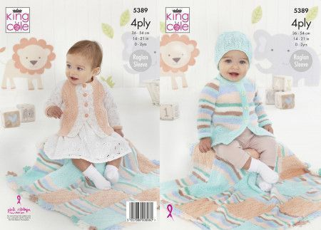 Coat, Cardigan, Hat and Blanket in King Cole Big Value Baby 4 Ply (5389)