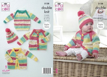 Jacket, Cardigan, Sweater and Hat in King Cole Splash DK and Big Value Baby DK (5138)