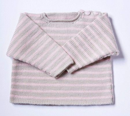 striped t-shirt sweater with buttons at neck knitting pattern