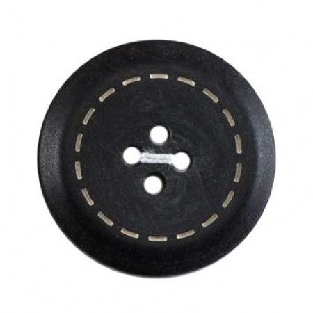 Size 17mm, 4 Hole, Circular stitch effect, Black, Pack of 3