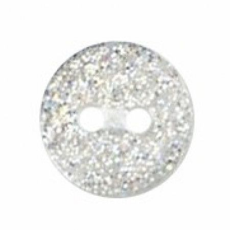 Milward Buttons - Size 10mm, 2 Hole, Sparkle Effect, White, Pack of 7