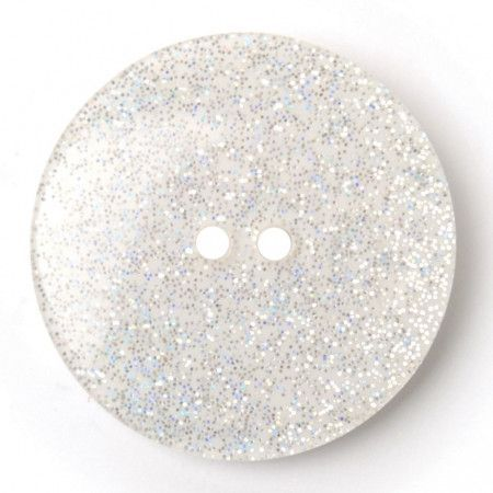 Size 27mm, 2 Hole, Sparkle Effect, White, Pack of 2