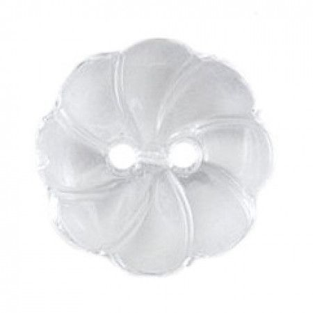 Size 15mm, 2 Hole, Petal Effect, Clear, Pack of 3