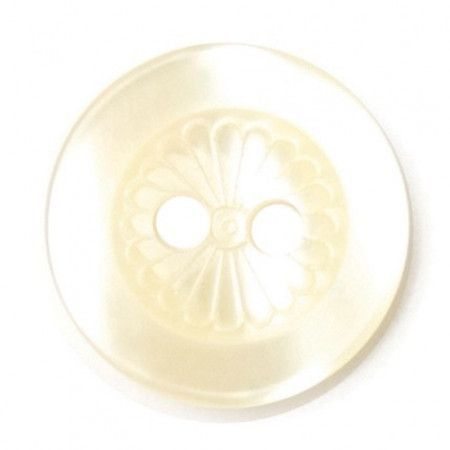 Size 12mm, 2 Hole, Flower Pattern, Pearl Cream, Pack of 6