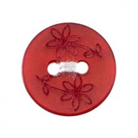 Size 12mm, 2 Hole, Printed Flowers, Red, Pack of 5