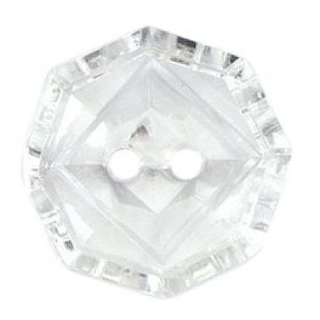 Size 19mm, 2 Hole, Glass Effect, Clear, Pack of 3