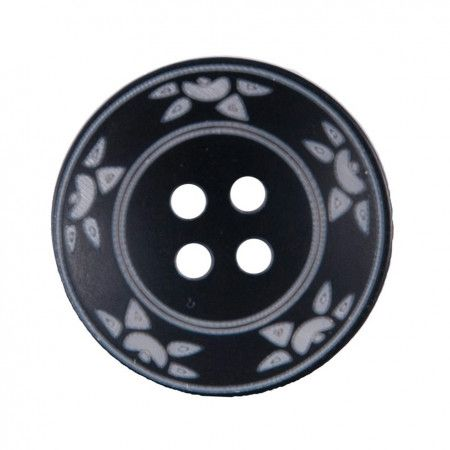 Size 20mm, 4 Hole, Sun Pattern, Black, Pack of 3
