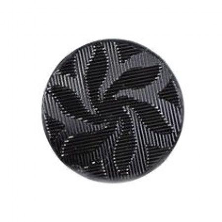 Size 12mm, Flower Swirl Effect, Black, Pack of 4