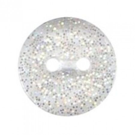 Size 12mm, 2 Hole, Sparkle Effect, Clear, Pack of 6