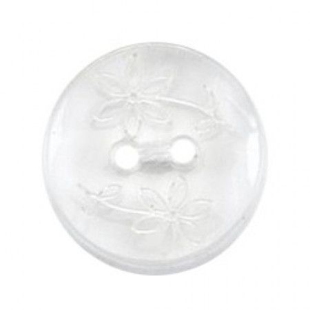 Size 15mm, 2 Hole, Flower Print, Clear, Pack of 4