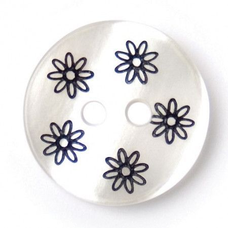 Size 15mm, 2 Hole, Flower Print, Pearl White, Pack of 4