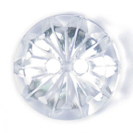Size 15mm, 2 Hole, Diamond Effect, Clear, Pack of 3