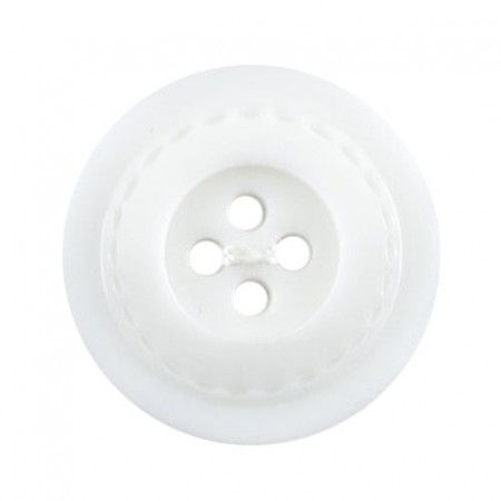 Size 27mm, 4 Hole, Stitch Effect, White, Pack of 2