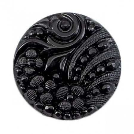 Size 21mm, Flower Swirl Pattern, Black, Pack of 3