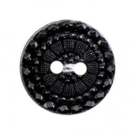 Size 15mm, 2 Hole, Flower Pattern, Black, Pack of 4