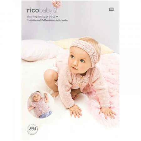 Cardigan, Top and Headband in Rico Baby Cotton Soft DK (888)