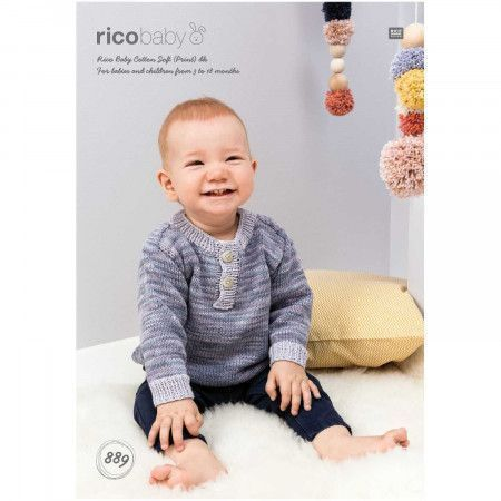 Sweater in Rico Baby Cotton Soft Prints DK and Baby Cotton Soft DK (889)