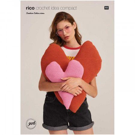 Heart Cushions in Rico Creative Cotton Aran (906)