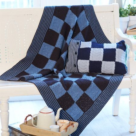 Blanket and Cushion Cover in Stylecraft Jeanie Denim Look (9401)