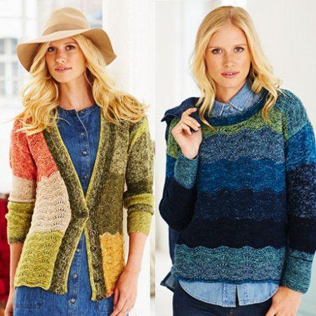Sweater, Cardigan and Cowl in Batik Swirl DK (9483)