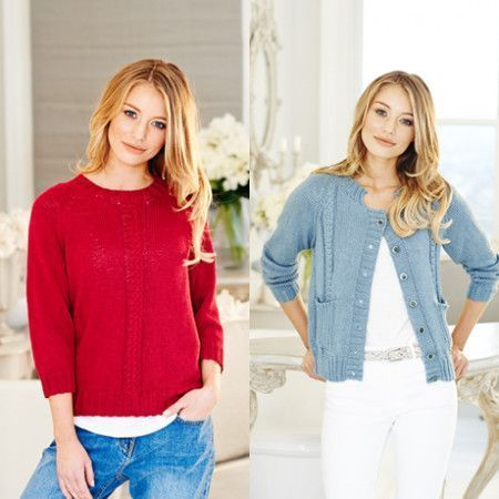 Sweater and Cardigan in Stylecraft Linen Drape DK (9511)