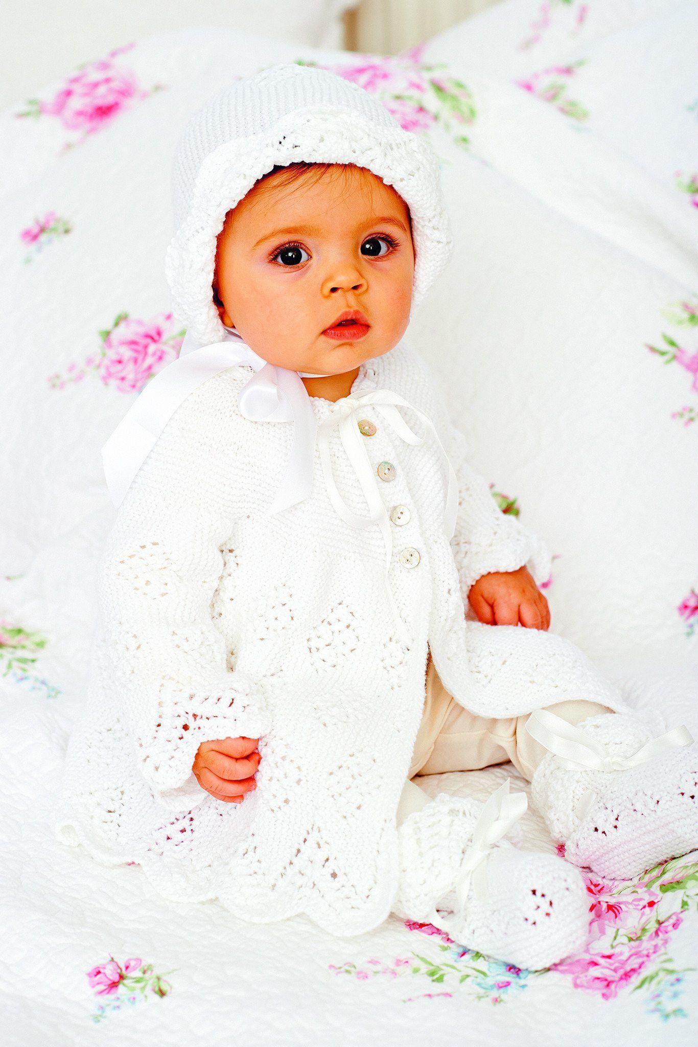 Baby jacket set booties bonnet