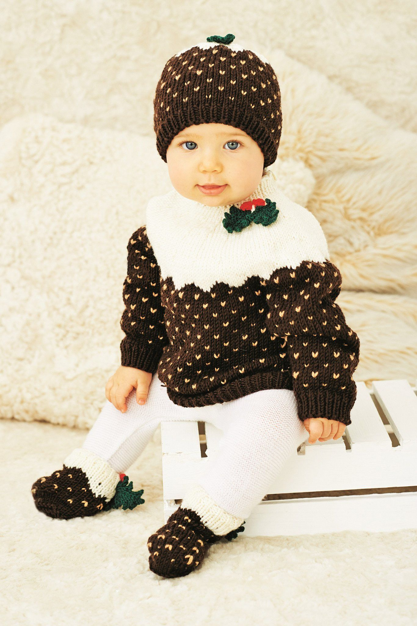 Christmas Pudding Outfit.Christmas Pudding Jumper Hat Socks Baby And Childrens Knitting Pattern