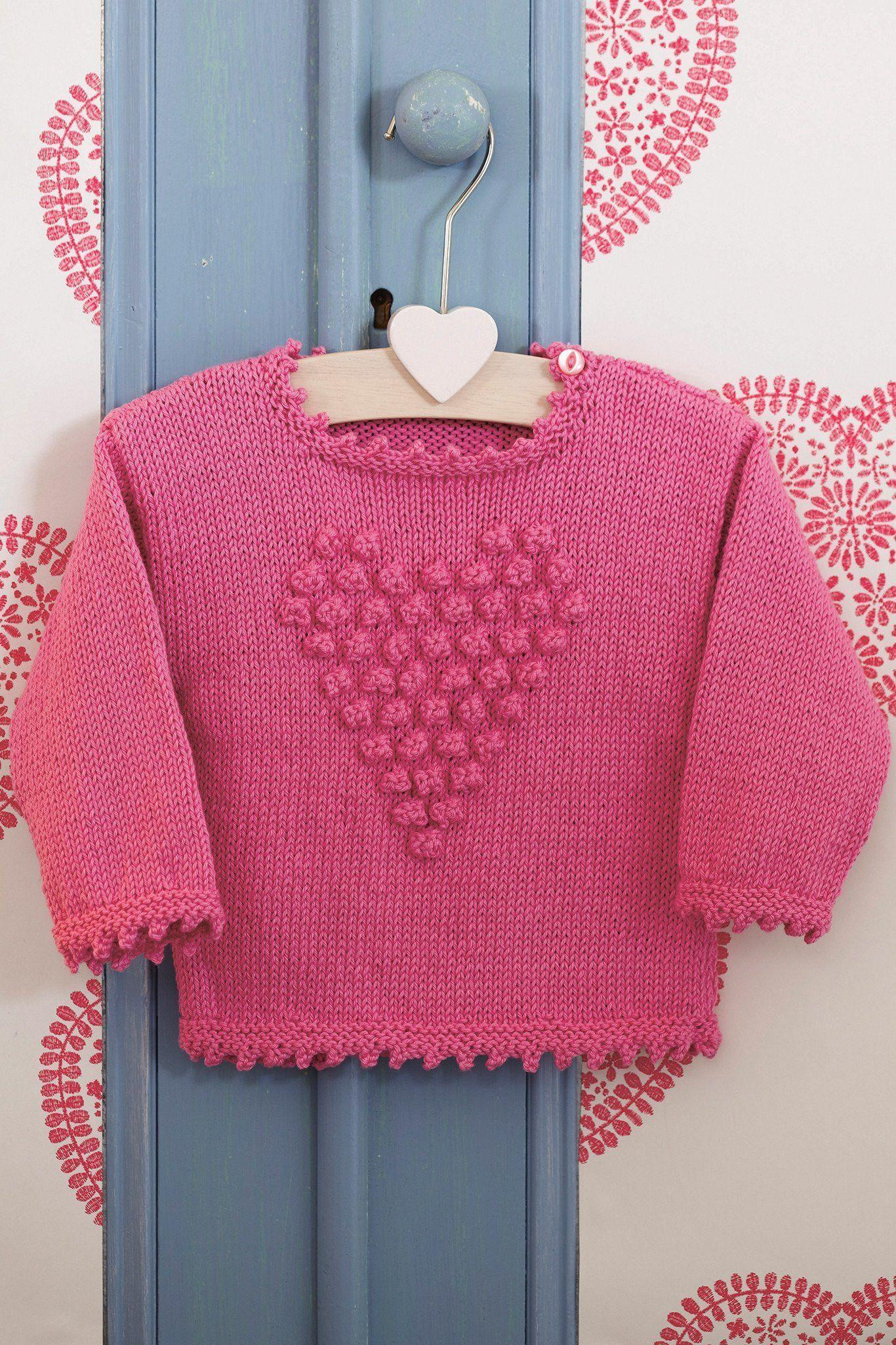 Girls Bobble Heart Jumper Knitting Pattern | The Knitting ...