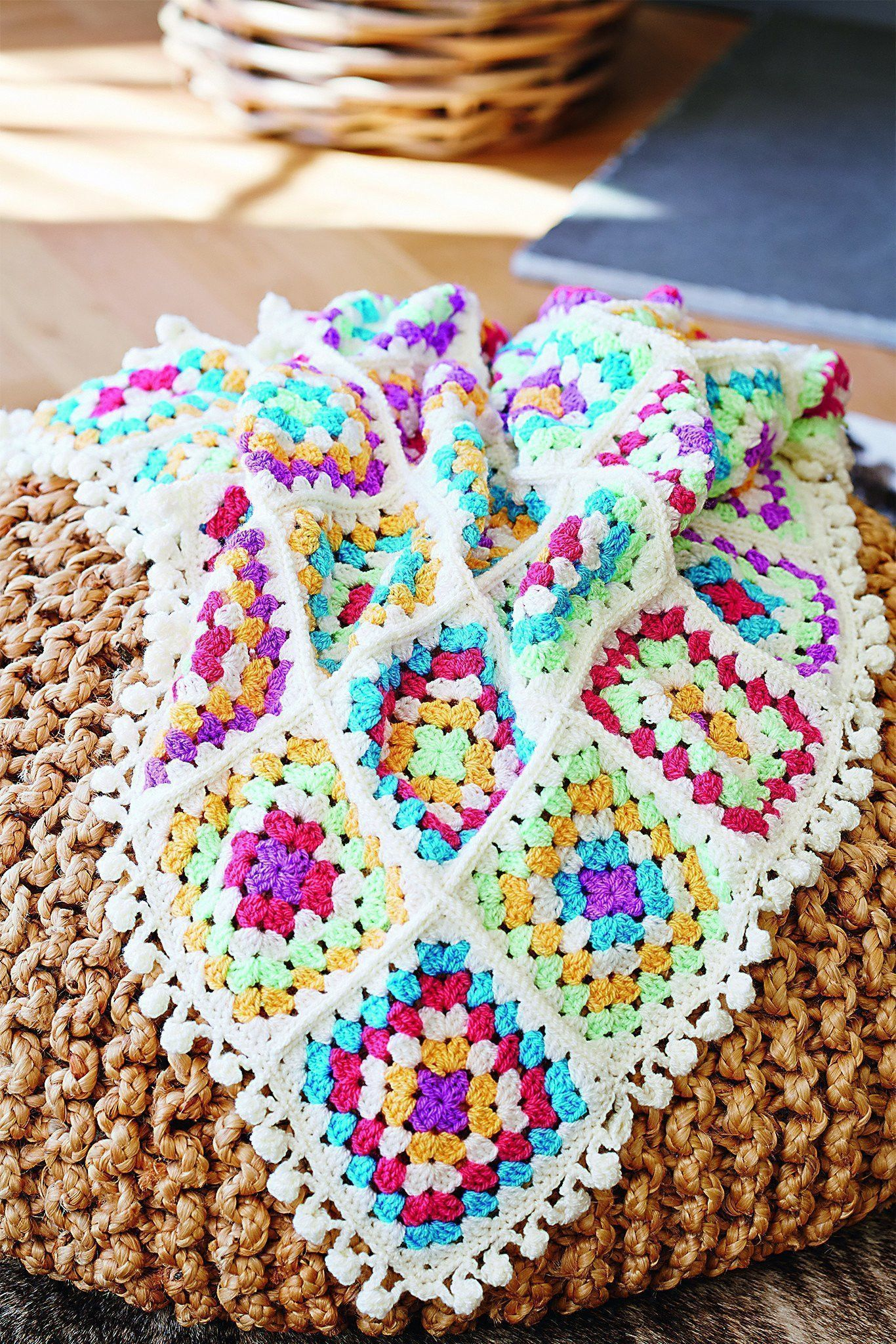 Granny Square Blanket With Pompoms Crochet Pattern