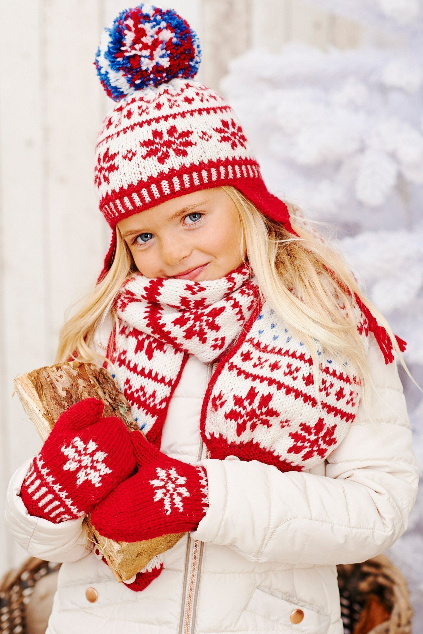 47c528a70 Kids Fair Isle Hat, Mittens And Scarf Knitting Patterns