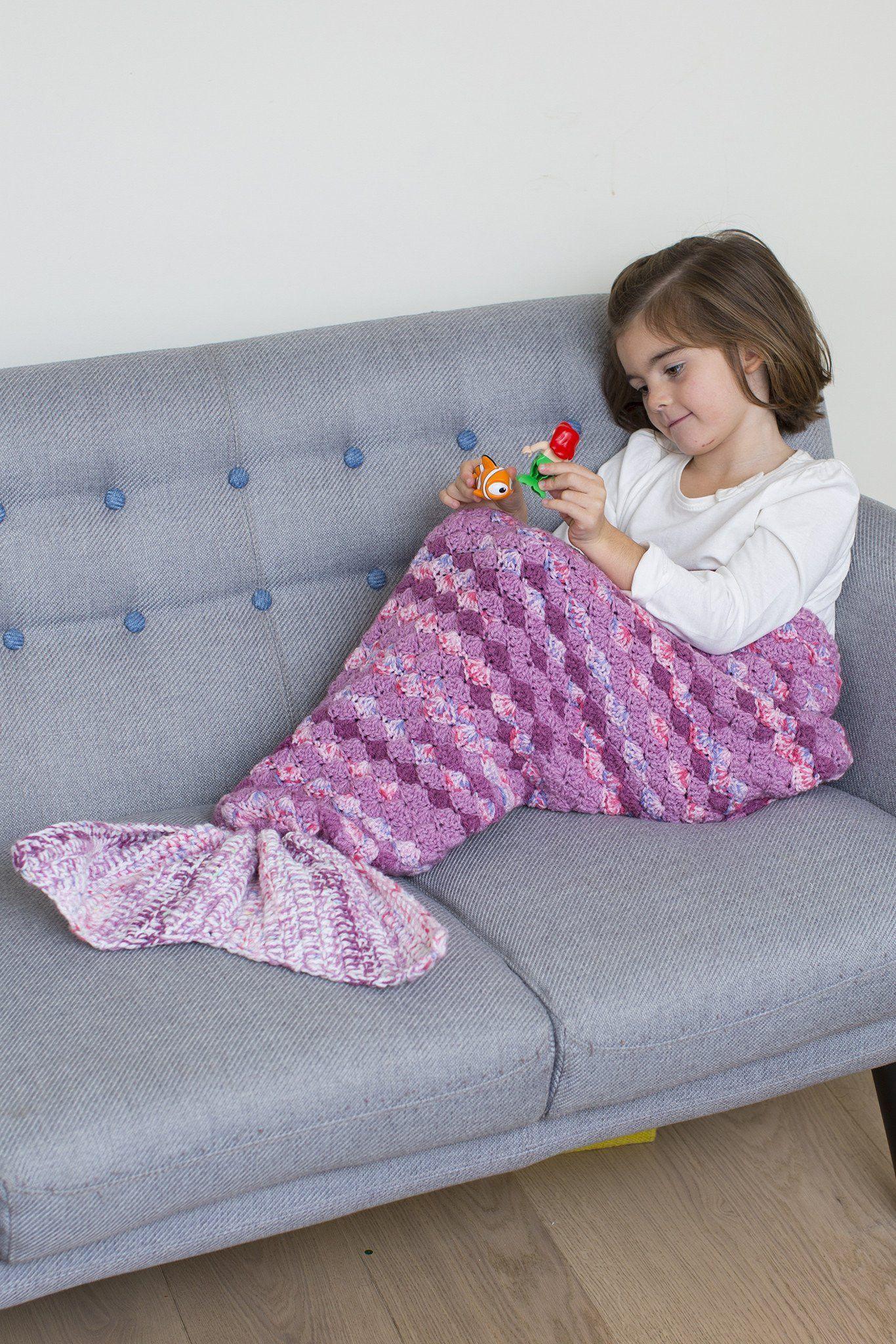 Kids Mermaid Tail Blanket Crochet Pattern