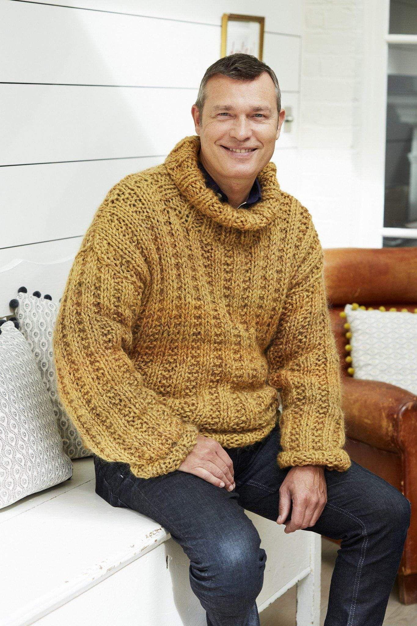 Mens Classic Chunky Rib Sweater Knitting Pattern | The ...