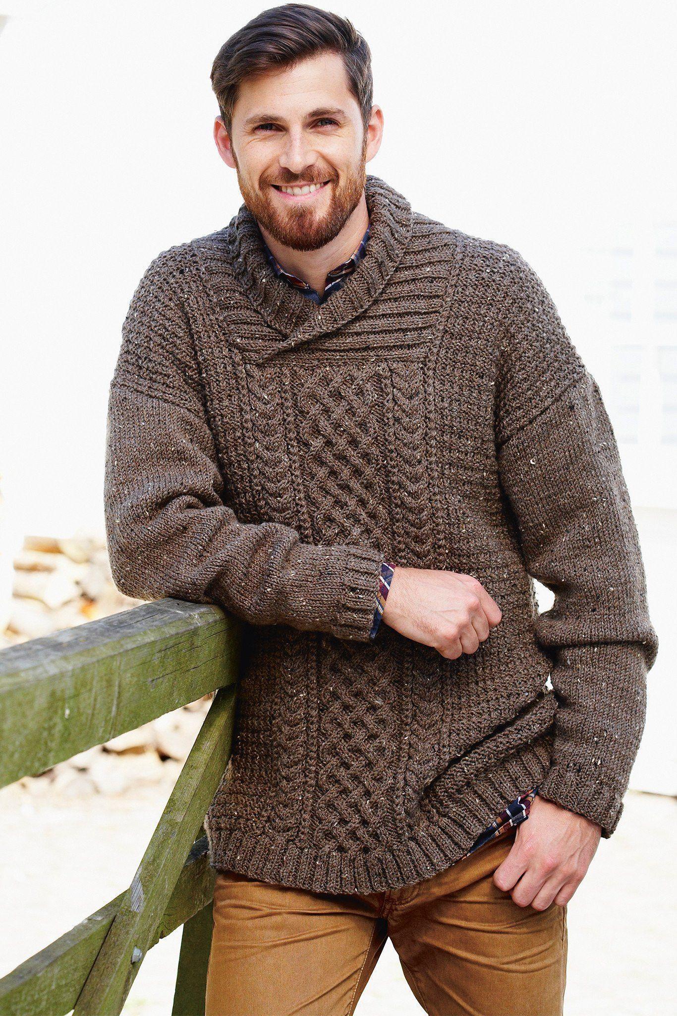 Mens Aran Sweater Knitting Pattern | The Knitting Network