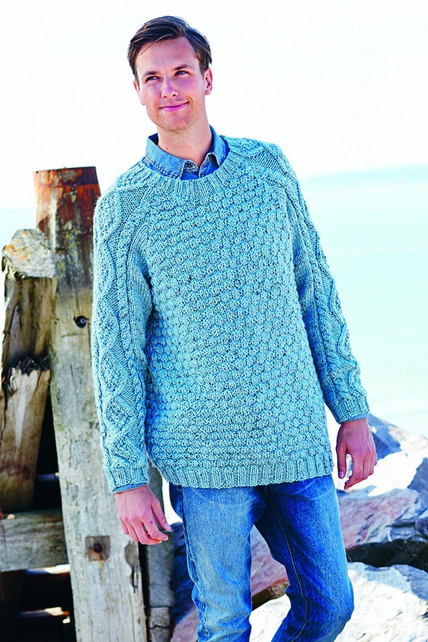 Mens Chunky Tweed Jumper Knitting Pattern   The Knitting ...