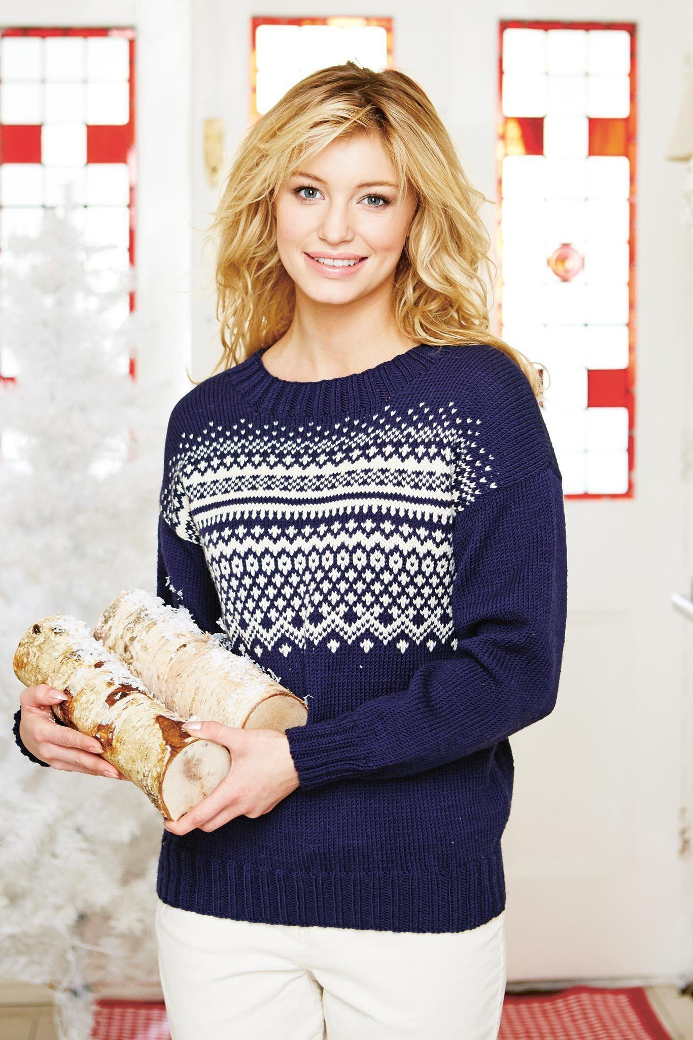 Nordic Womens Fair Isle Jumper Knitting Pattern The