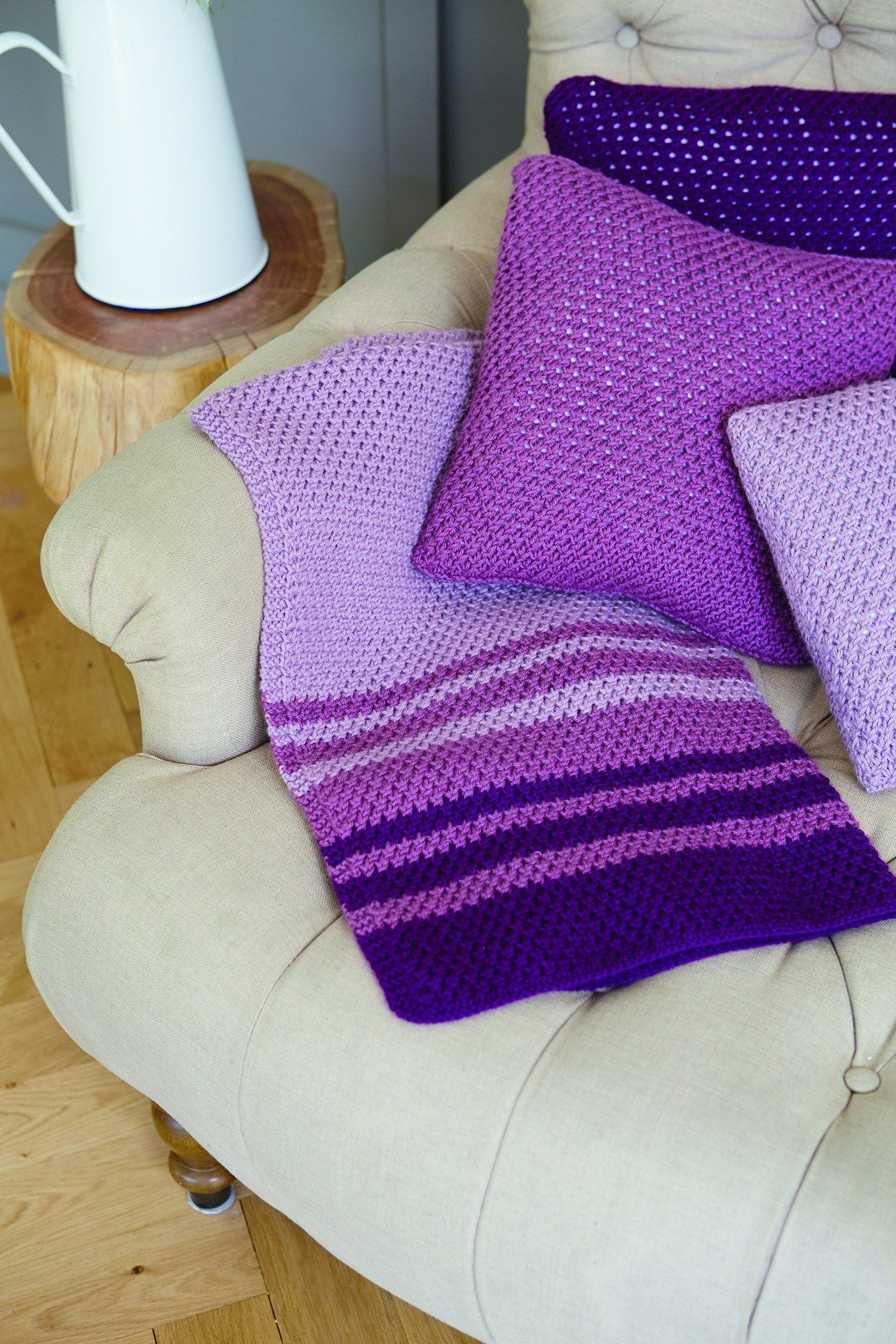Striped Blanket And Cushion Cover Knitting Patterns | The ...