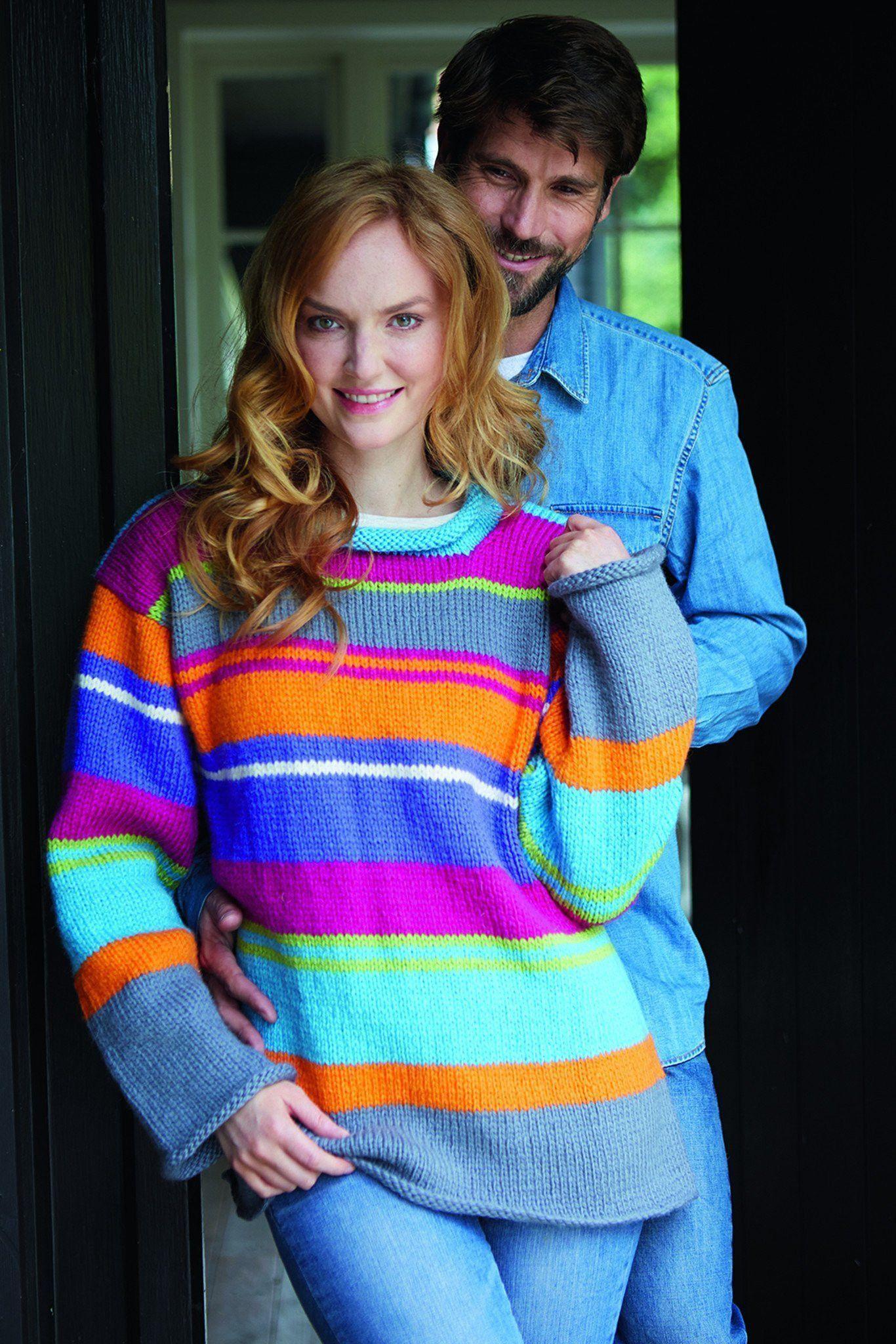 Striped Unisex Jumper Knitting Pattern   The Knitting Network