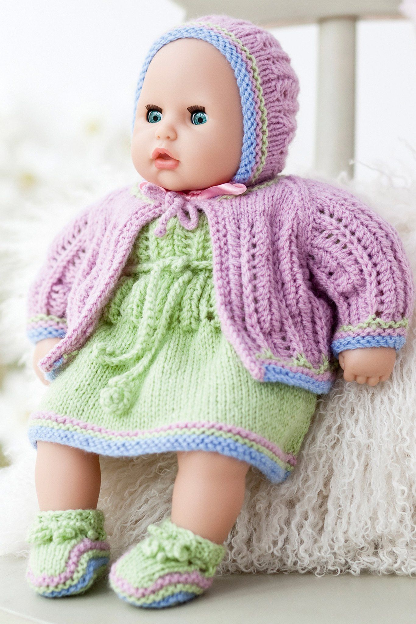 Vintage Baby Doll Clothes Set Knitting Pattern The