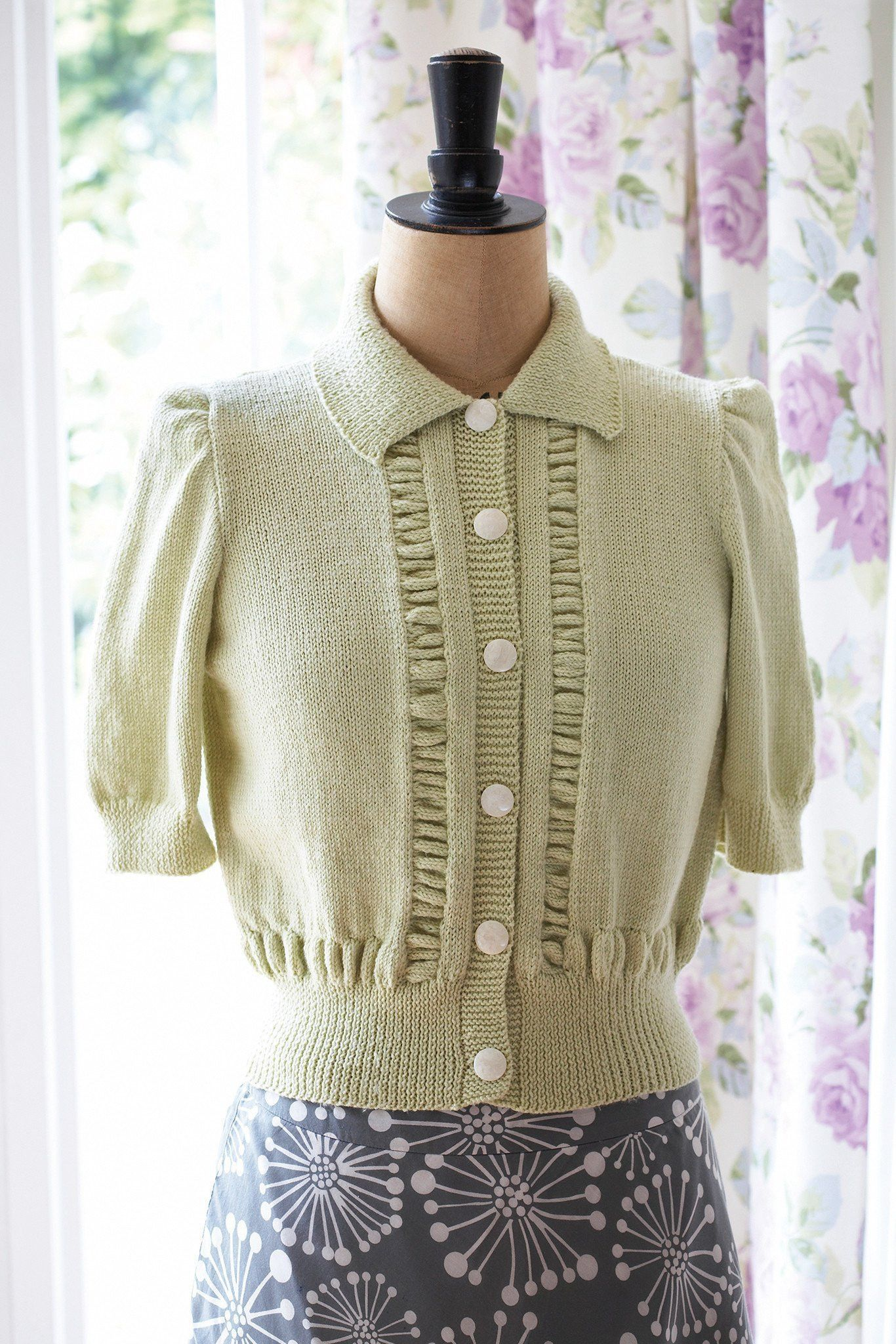 Vintage Short Sleeved Cardigan Knitting Pattern | The ...