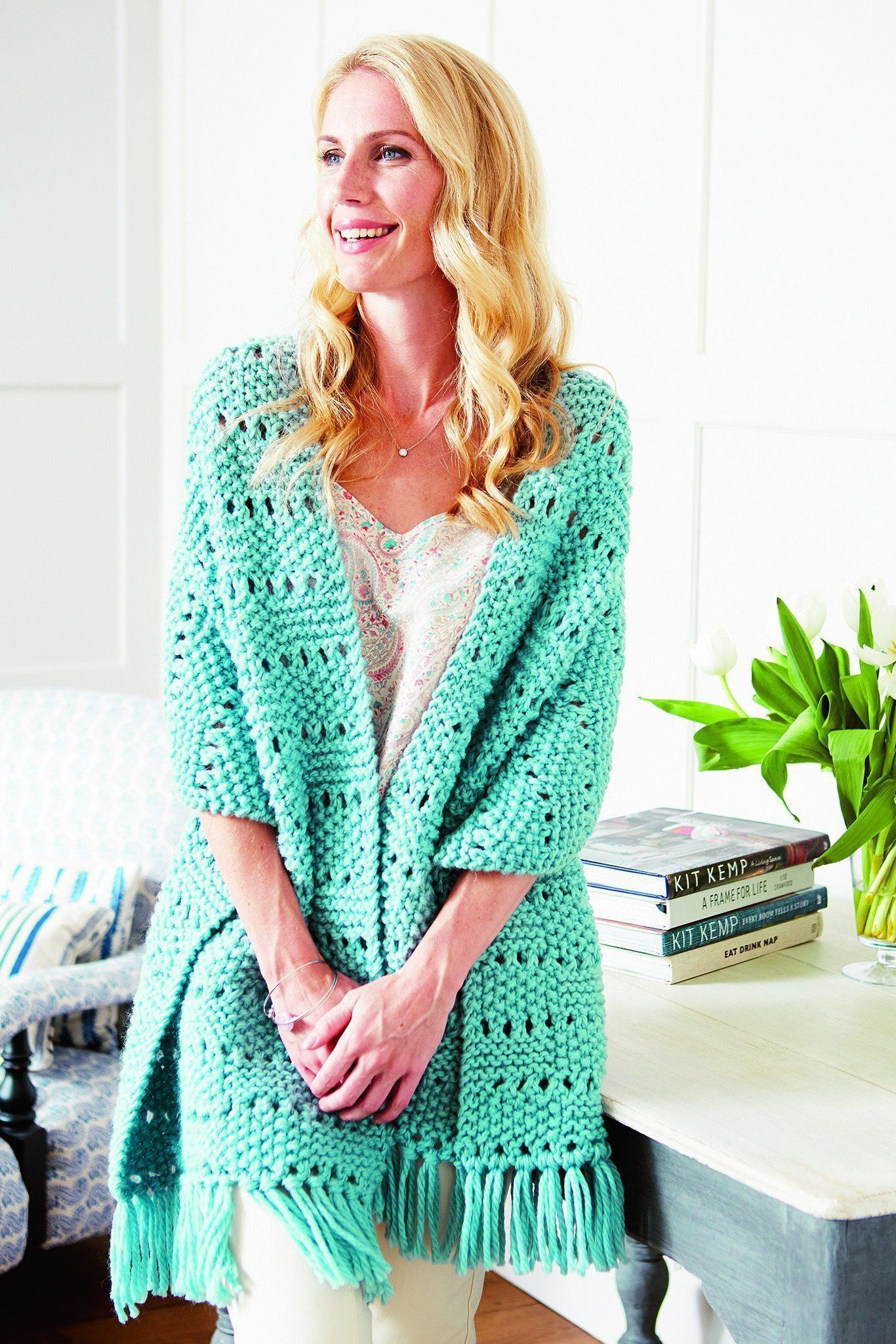 Vintage Womens Chunky Shawl Knitting Pattern   The ...