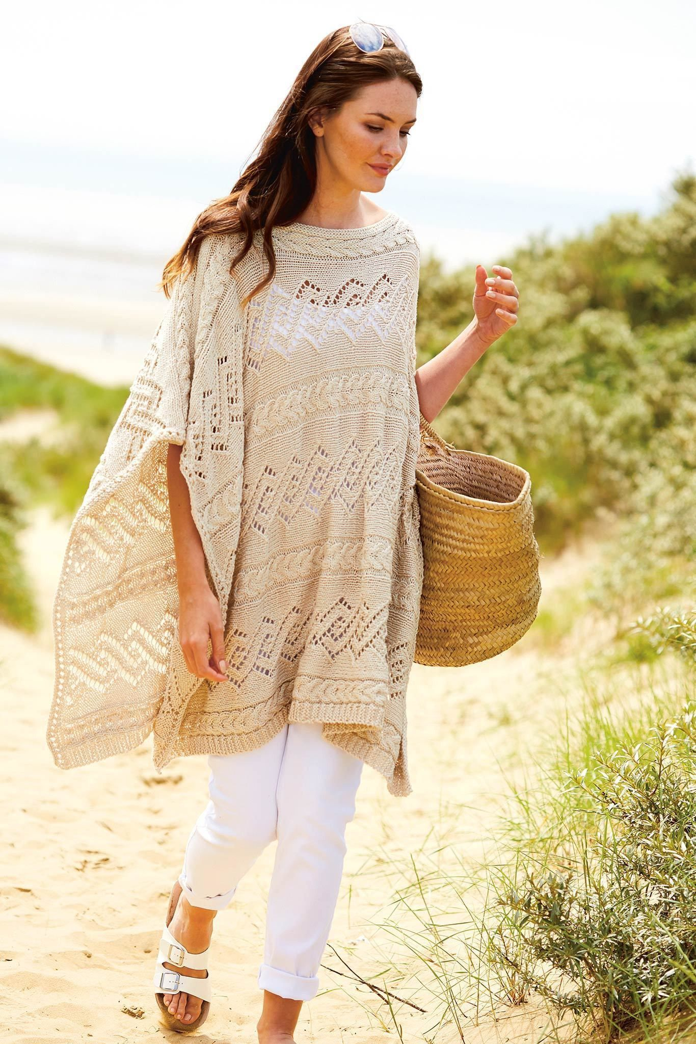 Womens Cable Poncho Knitting Pattern