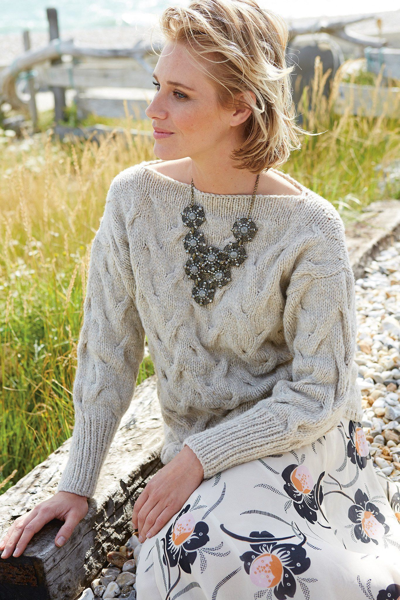 Womens Cable Sweater Knitting Pattern | The Knitting Network
