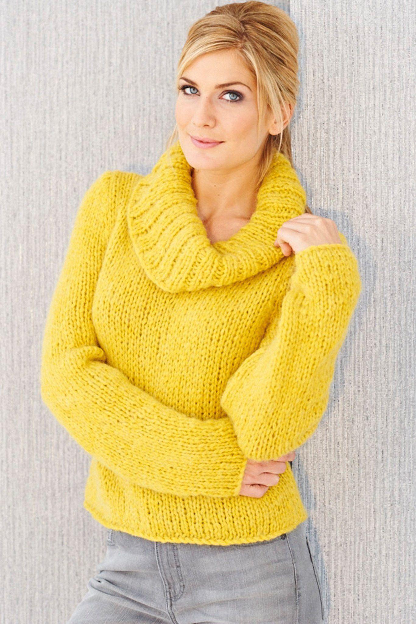Womens Chunky Cowl Neck Jumper Knitting Pattern