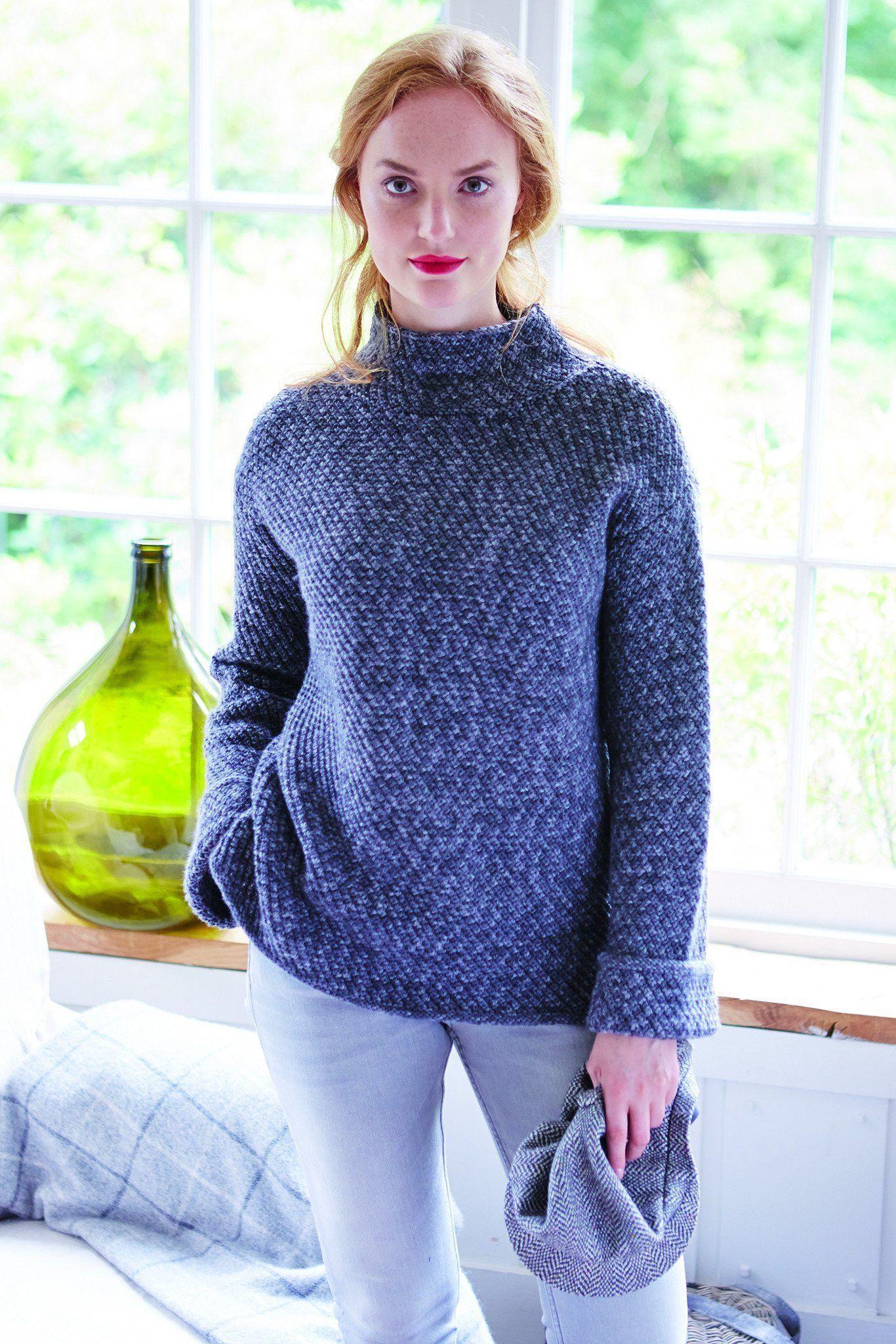 Womens Funnel-Neck Jumper Knitting Pattern | The Knitting ...