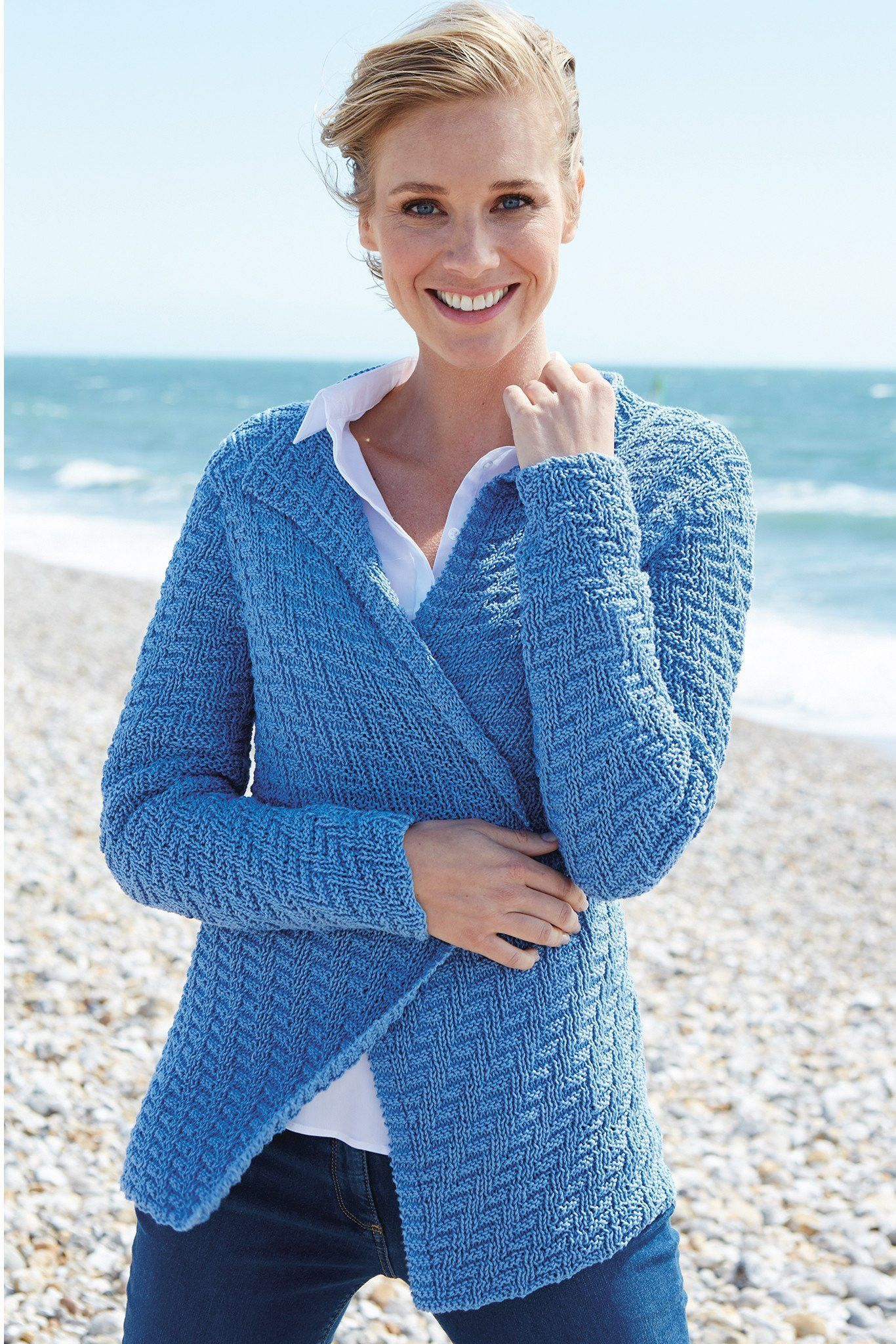 Womens Denim Cardigan Knitting Pattern | The Knitting Network