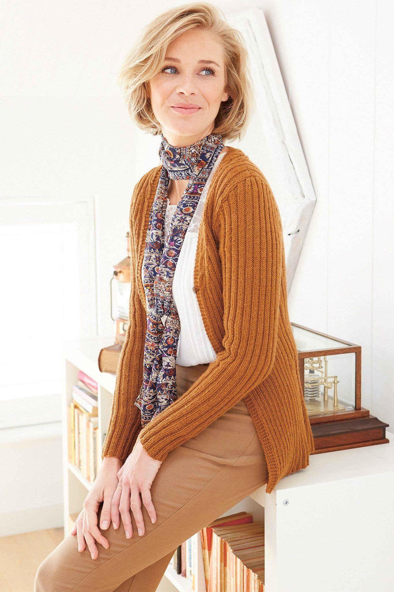 Womens Ribbed Cardigan Knitting Pattern | The Knitting Network