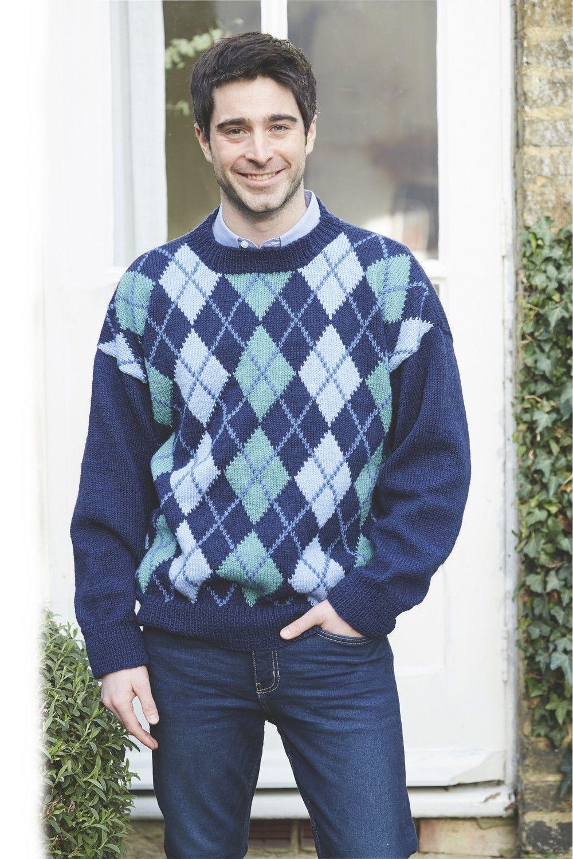 Men S Argyle Sweater Pattern The Knitting Network